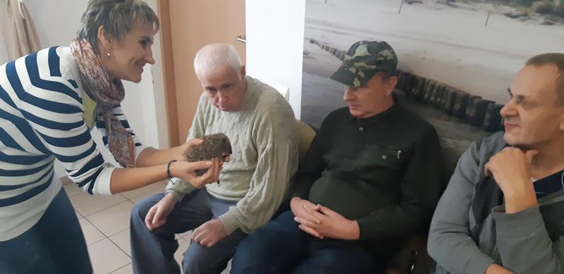 Młodzi mieszkańcy tymczasowego domu dla jeży wraz ze swoimi opiekunami odwiedzili Lubomirskiego.  (67)