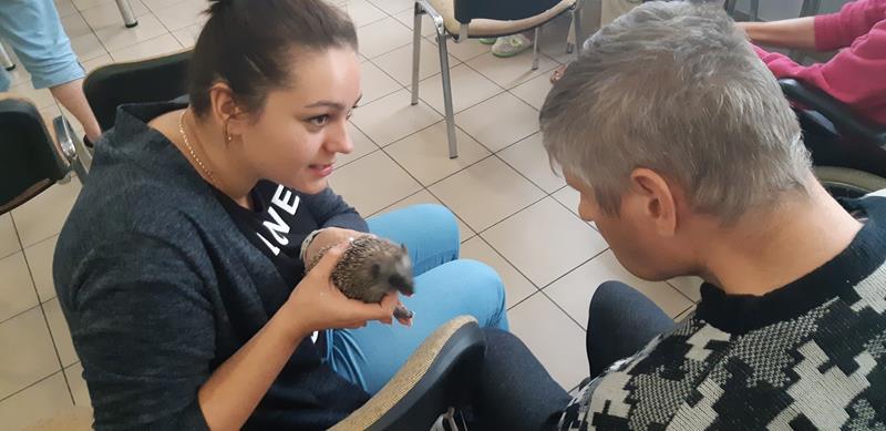 Młodzi mieszkańcy tymczasowego domu dla jeży wraz ze swoimi opiekunami odwiedzili Lubomirskiego.  (79)
